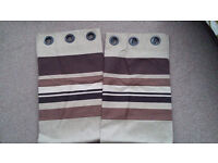 Pair of Curtains - Cream/Beige and Striped Shades of Brown 161 cm x 136 cm