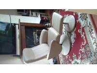 Cream leather look Reclining chair and stool