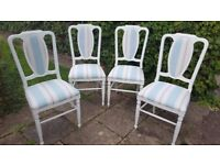 A Set of Four Dining Chairs in Shabby Chic Style