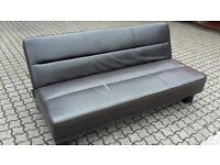 3 Seater Futon style Brown Faux Leather Sofa bed settee