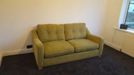 Sofa for sale, 3 seater In green fabric with matching scatter cushions