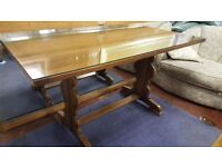 Refectory Dining Table With Glass Top
