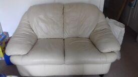 2 and 3 seater leather cream sofa.