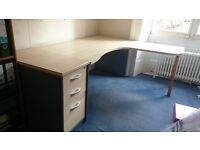 FREE - Used office desk with drawer pedestal and desk extension - some damage to the top laminate.