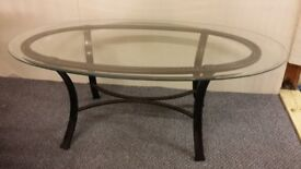 removeable glass topped coffee table, metal frame