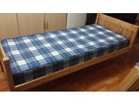 Pine junior bed frame and mattress in very good condition