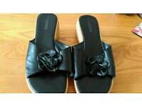 Ladies size 10 Black Mule sandals