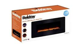 BRAND NEW - LED Electric Colour Changing Wall Fire with Floor Stand, 1500 W, Black