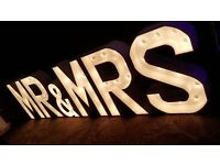 Light up letters for your wedding occasion. Signature Mr & Mrs with LOVE also available.Lit letters