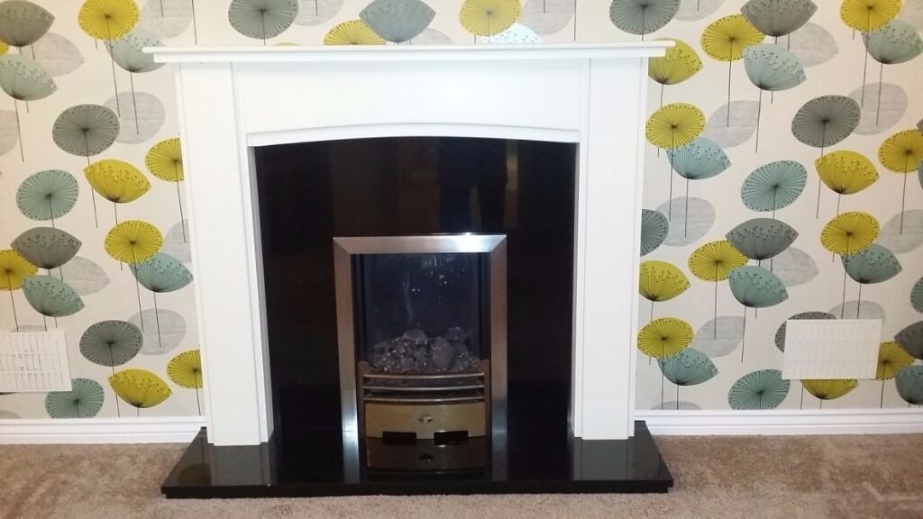 Fire Place Surround Wood and Balck Marble