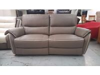 ScS Neo Grey Leather 3 Seater Electric Recliner Sofa **CAN DELIVER**