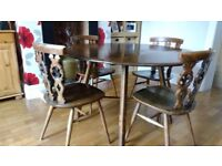 DINING TABLE & 4 WINDSOR CHAIRS BY LUCIAN ERCOLANI FOR ERCOL - 1970S