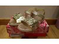 Pair of Gold Lelli Kelly Sandles Size 3.5 New in box