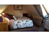 Bedroom soft furnishings - King size duvet cover & pillow cases; matching curtains; rug & cushions