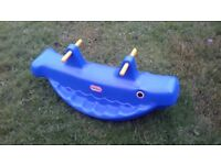 Blue double seat seesaw