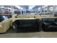 PRE OWNED Chesterfield Sofa in Black Fabric