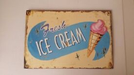 NEW with label - Vintage Retro Style Ice Cream Metal Tin Sign Picture Wall Hanging