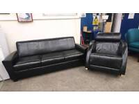 Black leather 3 seater sofa and rocking chair