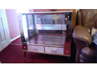 Retro 1950s/60s Glass Display Cabinet with drawers