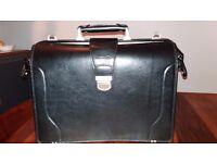 New and Unused Black Leather Briefcase Messenger Type