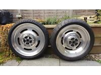 HARLEY DAVIDSON V ROD SOLID ALLOY SLOTTED WHEELS WIDE 200MM REAR TYRE 120MM FRONT LOTS OF TREAD
