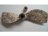 """Volvo Penta 2 bladed fixed bronze propeller and nut 15"""" x 12 RH fits 1"""" tapered shaft"""