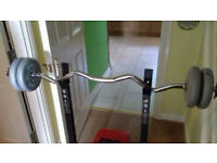 weight bench and weight bar (pro power)