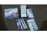 clear blue advavced fertility monitor with 2 fertility sticks and 3 pregnancy sticks