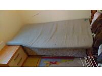 Single duvan bed with folding mattress ideal spare room bed