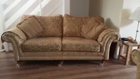Lovely gold chenille sofas with footstool