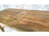 Rustic Extending Farmhouse Dining Table Drop Leaf Natural Finish - Folding, Ergonomic, Space Saving