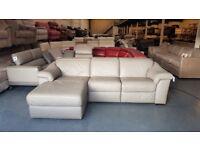 Ex-display Natuzzi Sensor grey leather electric recliner chaise sofa