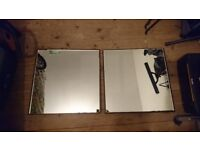 Two Large Square Beveled Glass Mirrors [ Sale ]