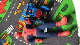 Spider man talking figure along with Spider-Man car toy