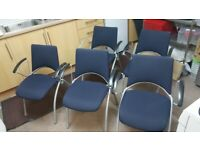 5 Stackable Verco Office/Conference/Boardroom/Meeting chairs Blue silver frame £70 each