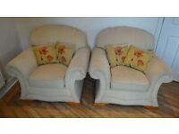 2 x Lounge Chairs with cushions, good condition