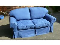 Cottage-Style BLUE COTTON 3-SEATER SOFA ~ 6ft x3ft x3ft ~ With Fully Removable Covers NEWARK VGC