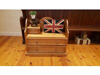 solid pine hall seat with storage for shoes, telephone seat