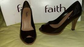 Faith peeptoes patent leather shoes size 5
