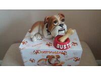 TWO BRITISHBULL DOG & BIG HEAVY BOXER DOG ORNAMENTS