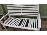 Free white garden bench