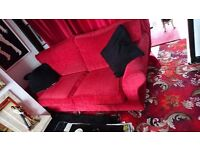Red 3 seater sofa and 2 matching armchairs