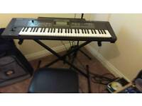 Roland E09 keyboard with stand & stool & a Yamaha mixing desk