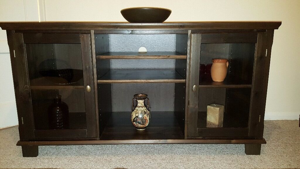 Large Hardwood TV Unit/Sideboard with 2 glass doors & middle section
