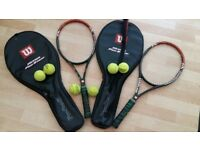 Two Wilson Hyper Pro staff Tennis rackets with cases and balls