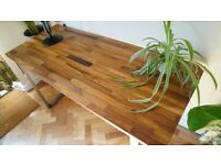 Desk/Table made with Solid Iroko Top and Industrial Steel Legs. Delivery Available (150 x 62 x 76cm)
