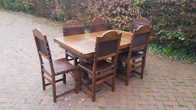 Flemish 6 seater oak extendable dining set