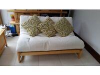 Futon double sofa bed cream colour fabric