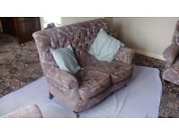 Deep-buttoned, comfy suite. 2-seater settee & 2 armchairs. Norfolk/Lincolnshire border
