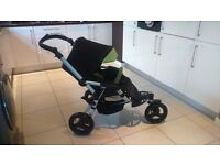JANE SLALOM REVERSE BLACK AND GREEN PUSHCHAIR/BUGGY/STROLLER